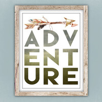 Adventure Printable, Watercolor Arrows Wall Art, Teen Room Decor, Earthtones Kid's Room Printable, Pretty Plus Paper 8x10 Digital Download