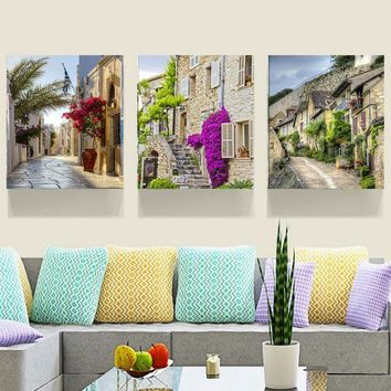 3-Piece European Roads Canvas Painting