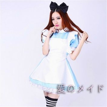 Alice In Wonderland Costume Maid Cosplay For Girls Anime Lolita Dress Fantasia Halloween Costumes For Women Plus Size