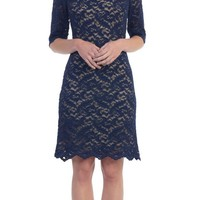 Bateau Neckline Lace Sheath Navy Blue Cocktail Dress