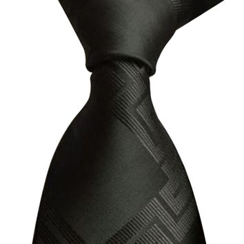 KLV Men Classic Black Woven Jacquard Business Tie Casual Neck Tie Business Accessory