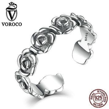 VOROCO 925 Sterling Silver Authentic Oxidation Flower Rose Band Stackable Cuff Open Adjustable Ring Women Fine Jewelry VSR020