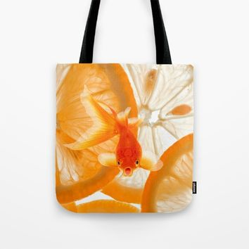 Orange Fish Tote Bag by Azima