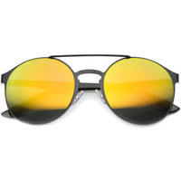 Retro Fashion Round Metal Crossbar Mirror Lens Sunglasses 9819