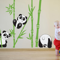 Panda fun nursery wall decal, kids room wall decal, tree wall decal, panda wall sticker, bamboo wall decal, panda wall decal, panda wall art