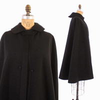 Vintage VICTORIAN CAPE / 1900s Thick Black Wool Cloak
