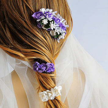 Wedding Flower Hair Comb, wedding hair accessories, hair clip,  bridal Flower hair Comb, Hair Flower, Bridal Hair Accessory, purple, white