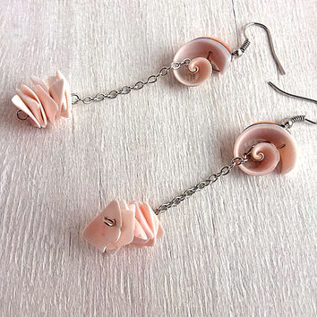 Seashell earrings Naturel abalone shell ear rings Sea shell jewelry Coral pink beads Nature pink abalone Ocean beach Summer boho Gift idea