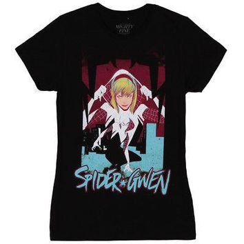 Spider-Gwen Reveal Image Marvel Comics Licensed Women's Junior T-Shirt - L