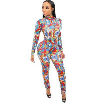 ONETOW Fashion Visual Arts Flower petals Jumpsuit Women club Rompers Elastic Skinny Long Sleeve Jumpsuits Cold Shoulder Plus size S-XL