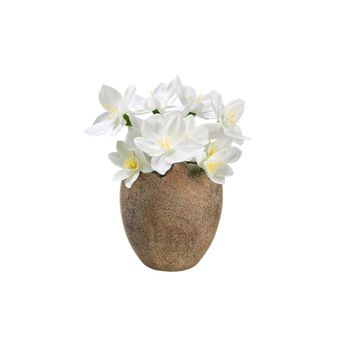 "4.5"" Decorative Paperwhite Silk Flowers Potted in Easter Egg Spring Decoration"