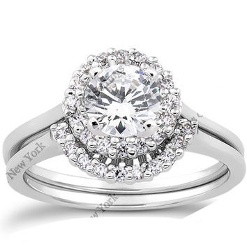 1.40ct G-SI1 Round Diamond Engagement Ring 18kt white gold  JEWELFORME BLUE