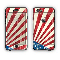 The Vintage Tan American Flag Apple iPhone 6 LifeProof Nuud Case Skin Set