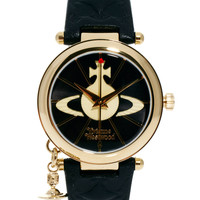 Vivienne Westwood Leather Strap Watch With Orb Charm - Black and gold