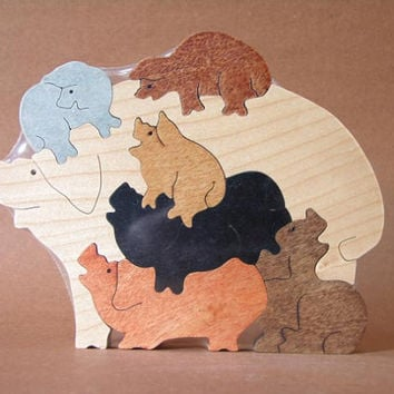 Pile of Pigs Hogs Piglets Farm Puzzle Wooden Toy Hand Cut with Scroll Saw