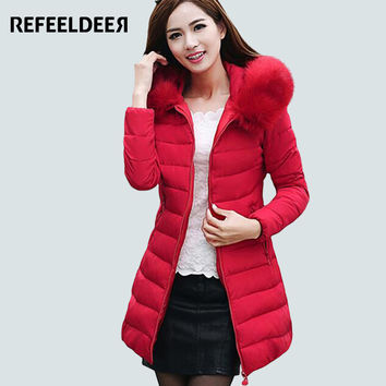 Refeeldeer Plus Size 4XL Women's Winter Jacket 2017 Fur Collar Thick Warm Parka For Women Winter Jacket Coat Female Quilted Coat