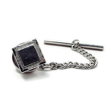 Swank Vintage Tie Tack, Silver Tone Square, Mid Century 1960s 60s, Wedding Formal, Best Man Groom Gift, Tie Pin, Tie Jewelry, Fathers Day