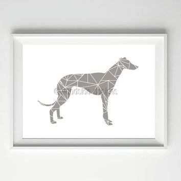 Elegant Greyhound Print, Minimal Geometric Art, Digital Illustration, Greyhound Illustration, Geometric Art, Printable Art, Grey Print,