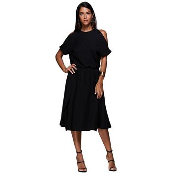 Brief Round Collar Cut Out Sash Waist Solid Color Split Dress for Women