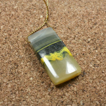 Bumble Bee Jasper Rectangle Pendant - Yellow Grey and White Smooth Focal