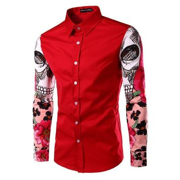 Fashion Luxury Patchwork Men Print Skull Floral Shirt Slim Fit Casual