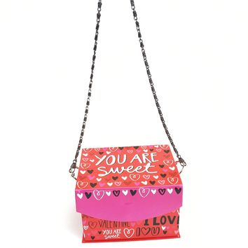 Cute Red Women's Novelty Purse with Chain Strap Love Heart Box Handbag