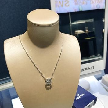 HCXX 19July 387 Swarovski Sparkling Dance Round pulsating crystal color necklace clavicle chain. 5286137