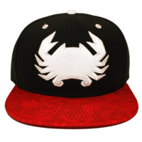 Geo Crab with Red Floral Brim (Black) / Canvas Snapback Hat