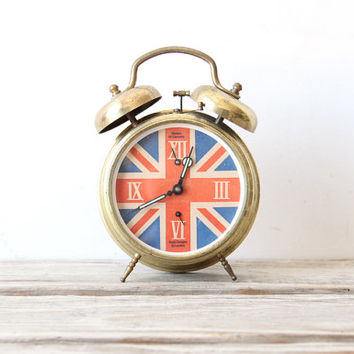 Union Jack Flag Vintage Alarm Clock. Made in West Germany