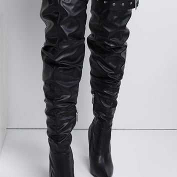 Cape Robbin Stiletto Heel Pointed Toe Belt Buckled Faux Leather Slouch Thigh High Boots in Black Chain