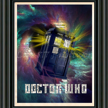 Doctor WHO TARDIS - TARDIS art print - Doctor Who art print -  Dictionary print art