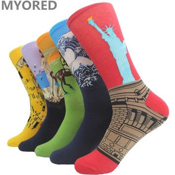 MYORED mens womens art socks novelty famous harajuku printing oil painting crew all match sock girls man couple wedding gift sox