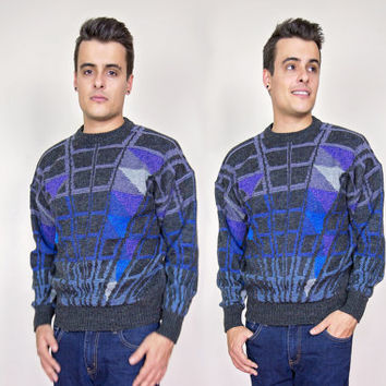 vintage wool sweater men / mens hipster sweater / 90s mens shirt / mens 80s clothing / retro sweater