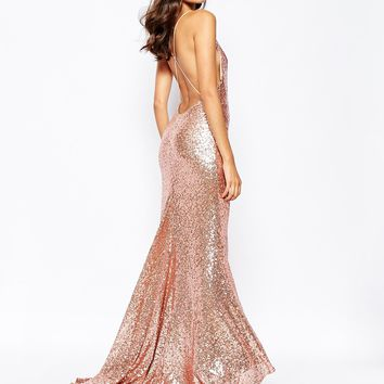 Fame and Partners Sequin Paradise Embellished Maxi Dress With Open Back