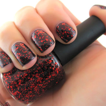 Bella - Black and Red hex, sticks, squares Glitter Nail Polish