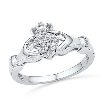 10k White Gold 1/20 ctw Diamond Claddagh Ring / Band: Size 7 (Sizeable)