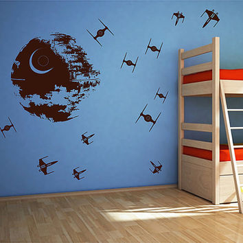 kik2726 Wall Decal Sticker Death Star Star Wars space ships nursery teenager