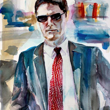 Criminal Minds Aaron Hotchner in Bright Sunlight Watercolor by Ginette