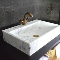 "24"" White Marble Stone Vessel Sink + faucet hole - PEGASUS WHITE"