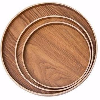 Japanese Round Natural Wood Tray
