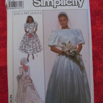 Sale Uncut 1980's Simplicity Sewing Pattern, 9050! Choose from 2, Size 10 and size 18, Women's, Wedding Dresses, Formal Gowns, Bridesmaid Dr