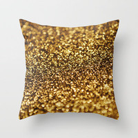 Gold Glitter Throw Pillow by Elizabeth Doyle | Society6