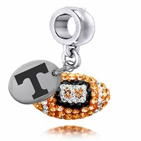 Buy Tennessee Volunteers Enameled Football Drop Charm. Solid Sterling Silver with Enamel . Free Shipping