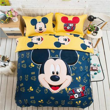 Cool Yellow Blue Mickey Mouse 3D Printed Bedding Set Coverlets Bedspreads for Children's Bed Cotton Woven 500TC Twin Full Queen KingAT_93_12