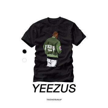Kanye Yeezus Tour Illustration T shirt Crew neck Concert tee Travis Scott Kid Cudi