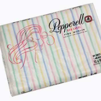 Twin Flat Bed Sheet Pastel Stripes Vintage Pepperell Red Label Fine Muslin Retro Bedding New Old Stock NOS