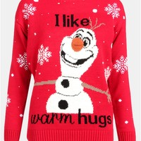 Kids I Like Warm Hugs Print Olaf Christmas Jumper in Red | Chiara Fashion