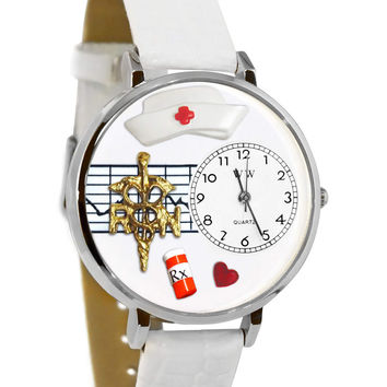 Whimsical Watches Designed Painted RN White Leather And Silvertone Watch