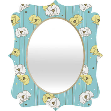 Heather Dutton Blue Poppy Field Quatrefoil Mirror