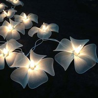 White Floral Flower Handmade String Lights for Weddings, Parties, Home Decoration